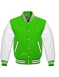 Letterman Baseball Varsity Jacket Bomber Sports Jacket Wool Leather Kelly/White