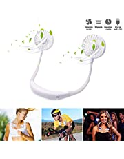 Hands-Free Fan, Portable Neckband Fan, Upgraded USB Rechargeable Mini Dual Neck Fan with LED Light, 2000mA Battery Capacity, 3 Speeds Modes & 360 Rotating for Sports Traveling & Office