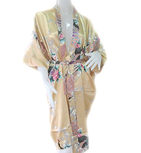 Thai Vintage Women's Gold Kimono Silk Satin Bath Wrap Robe Peacock Design