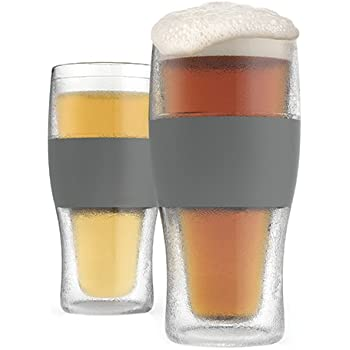 Host Freeze Mug Insulated Plastic Set of 2, 16 oz Pint Grey, 2, Beer Glasses