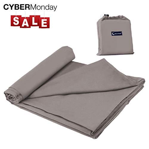 Cotton Sleeping Bag Liner Travel and Camping Sheet Lightweight Compact Sleep Bag Sack Picnic (82.7 X 63 Inch, Khaki Grey)