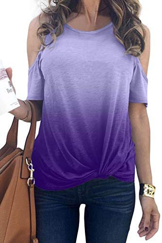 MODARANI Round Neck Knot Front Tie Dye Shirts Women Purple Could Shoulder Tops Casual Loose Fit XXL ()