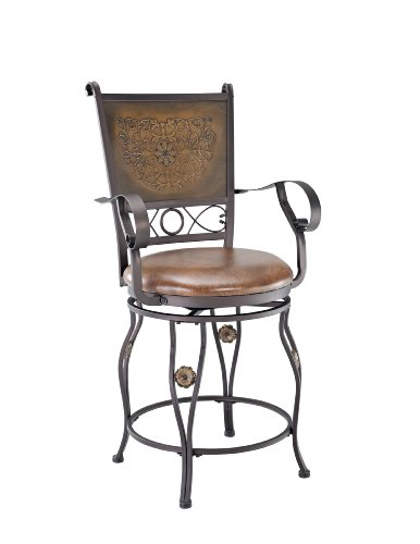Powell Kitchen Bar Stool - Powell Company Big and Tall Copper Stamped Back Counter Stool with Arms