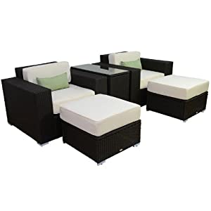 Outsunny 5pc Outdoor PE Rattan Wicker Lounge Chair Patio Furniture Set from Outsunny