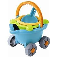 Scooter de arena HABA - Juego de juguetes de playa de 4 piezas para niños pequeños con cubo de arena portátil, tamiz, pala y cubo sobre ruedas