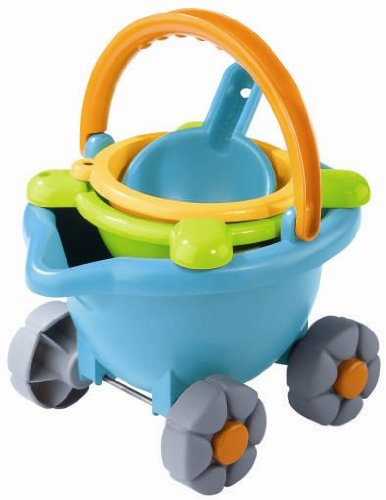 HABA Sand Bucket Scooter - 4 Piece Nesting Beach Toy Set for Toddlers with Portable Sand Bucket, Sieve, Shovel and Pail on Wheels