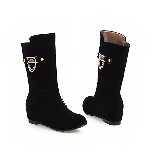 Girls Inside Cow amp;N Toe Boots Round A Heighten Suede Black Imitated Ornament Metal Xn5xq8O