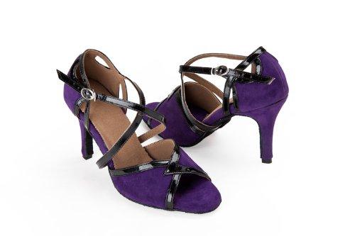 Zapatos Abby Q-8058 Litin Para Mujer Ballroom Dance 3.4 Zapatos Con Tacón Acampanados Purple