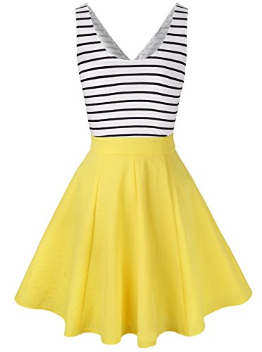 Face N Face Women's Sleveeless Hollow out Back Sexy Stripe Casual Slim Dress Large Yellow