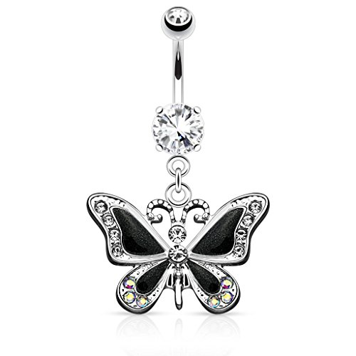 Pierced Owl Butterfly with Gems 14G Navel Dangle Belly Button Ring 316L Surgical Steel (Black)