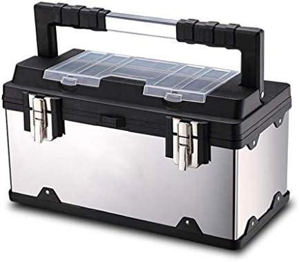 ステンレス鋼ツールボックス多機能家庭用ポータブル大電気技師ティンボックスハードウェア修理ツール収納ボックスツールボックス
