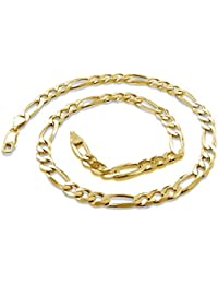 18 Karat Solid Yellow Gold 2.7mm Figaro Link Chain Necklace - 3+1 Link - Made In Italy