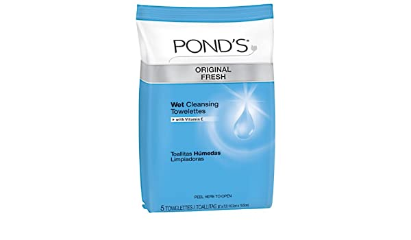 Amazon.com: Ponds Wet Cleansing Towelettes, Original All Day Clean, 5 Count (Pack of 12): Beauty