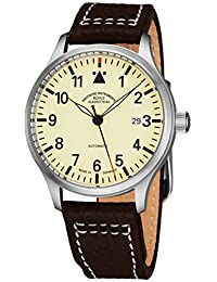 Terrasport II Mens Automatic Pilot Watch - 40mm Cream Face with Luminous Hands and Sapphire Crystal - Brown Leather...