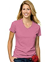 Hanes Women's Relax Fit Jersey V-Neck Tee 5.2 oz (Pack of 1) Color:Pink