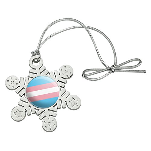 Graphics and More Transgender Trans Pride Flag Original Blue Pink White Metal Snowflake Christmas Tree Holiday Ornament (Snowflakes White Metal)