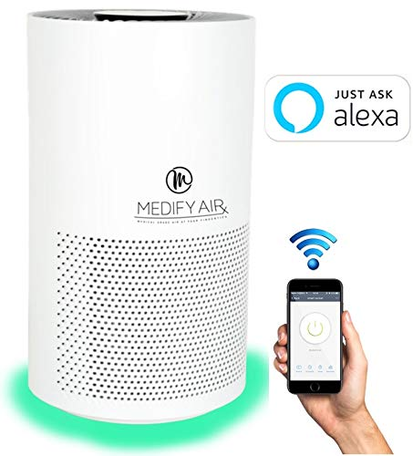 Medify MA-Smart Mobile App, Alexa Enabled Medical Grade True HEPA Air Purifier for 500 sq ft H13 99.97 Particle Sensor with Light Indicator 3-in-1 Filter Filter Replacement Indicator