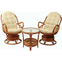 Lounge Set of 2 Swivel Rocking Java Chair Natural Rattan Wicker Handmade with Cream Cushion and Round Coffee Table, Cognac