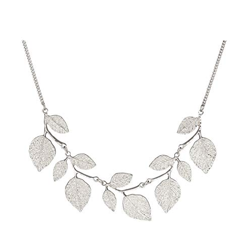 CENAPOG Bohemian Spangle Hammered Leaf Collar Necklace for Women Girls Plant Necklace Chunky Tree Life Choker Necklace Vintage Sparkly Bib Necklace for Wedding Evening Party Fashion Jewelry (Silver)