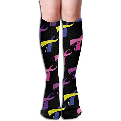 Unisex Grunge Ribbon Breast Cancer Awareness Compression Socks-Graduated Compression Knee High Legging Socks by SryeCewd