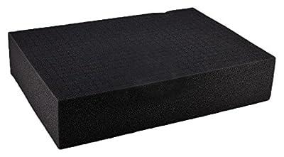 """SRA Cases EN-AC-FG-A022-FOAM-CB Pre-Scored Foam Block Insert for EN-AC-FG-A022 Hard Case, 17.5"""" x 12.5"""" x 3.7"""", Grey"""