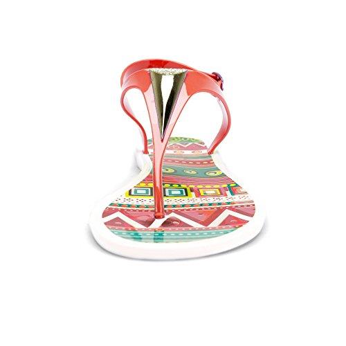 Chemistry® Eva Womens Romano Gladiatore Perizoma Cravatta Sandalo Piatto Regolabile Cinturino Alla Caviglia Infradito Donna Scarpe Rosse