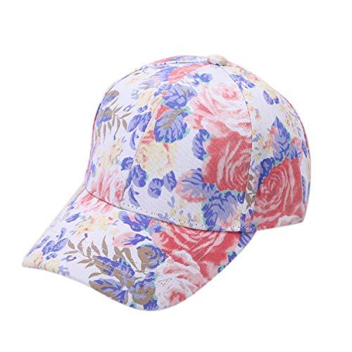 夏 女性 花 プリント野球のキャップ ヒップホップの帽子フラット 調節可能な コットンキャップ,白,