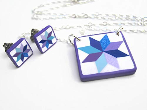 "18"" Quilt Block Necklace & Earrings Set.925 Sterling Silver, Limited Edition Polymer Clay LeMoyne Star Jewelry from Abundant Earth Works"