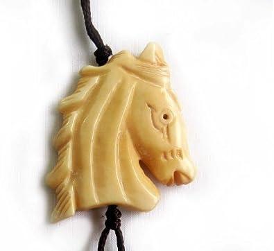 Ovalbuy Ox Bone Carved Horse Head Pendant Necklace Amazon Co Uk Jewellery