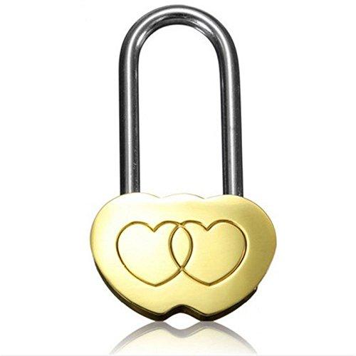 GeoBIX(TM) 1PC NEW Padlock Love Lock Engraved Double Heart Valentines Anniversary Day Gifts