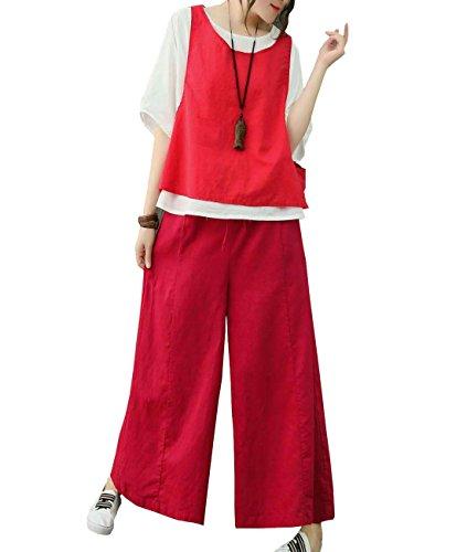 Vest Wide Leg Pants - YESNO P27 Women Casual Loose Blouse Vest Pants Set of 3 Wide Leg Pocket