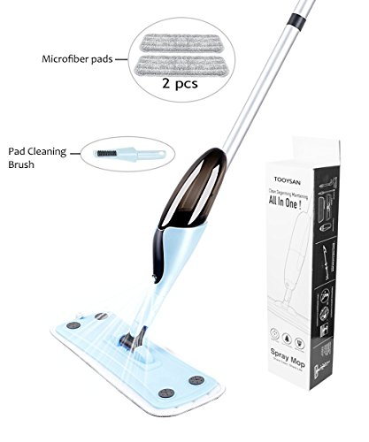 Spray Mop With Reusable Microfiber Pad By Tooysan,360 Degree Cleaning Mop with washable pads,spray mop kit for hardwood floors,Laminate,Parquet,Bamboo,Ceramic Tiles