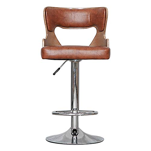 Mesurn Nordic Solid Wood Bar Stool, Height Adjustable, Simulated Leather Seat Cushion, Retro Leather Backrest High Stool, Home Lift Rotary Bar Chair