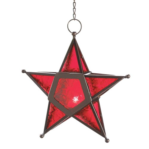 VERDUGO GIFT CO Glass Star Lantern Hanging Candle Holder Christmas, Red