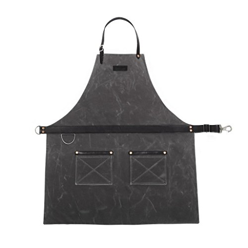 Rugged Apron - Waxed Canvas - Charcoal - Made in USA by Hardmill