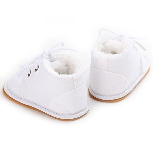 Baby-Winter-Schuhe weiche Sohle Baby-Mädchen-erste Wanderer (L: 12 ~ 18 Monate, Rosa) Weiß