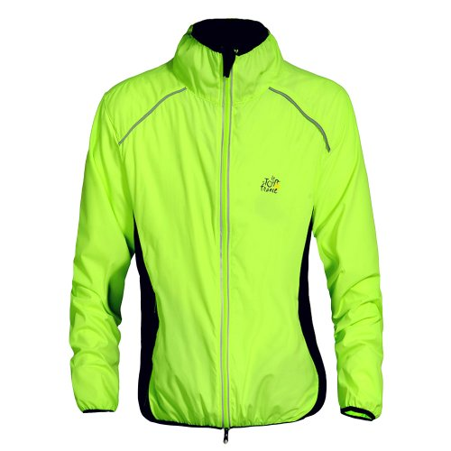"""TECH-P Cycling Jacket Jersey Sportswear Running Biking Jacket Long Sleeve Wind Coat Breathable Quick Dry, Available 5 Colors - Black White Green Orange Yellow. (Green, US XL/ (CN XXXL) Chest 44""""-46"""")"""