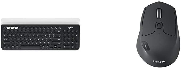 Logitech K780 Multi-Device Wireless Keyboard for Computer, Phone and Tablet & M720 Triathalon Multi-Device Wireless Mouse – Easily Move Text, Paired with Bluetooth or USB, Black