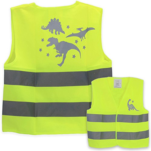 [Dinos kids construction vest Halloween construction costume high visibility kid safety vests, One size fits children 3 to 7 years old.] (Dinosaur Costume Bike)