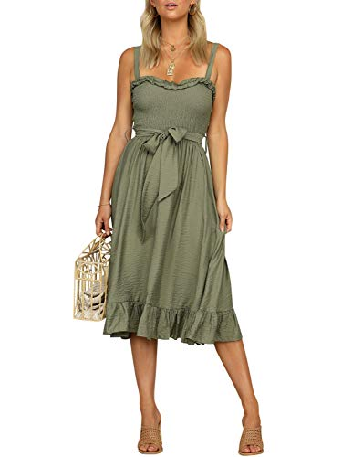 Fashiomo Women's Spaghetti Strap Ruffle Midi Dress Sleeveless Tie Waist Dress Gray Green,L