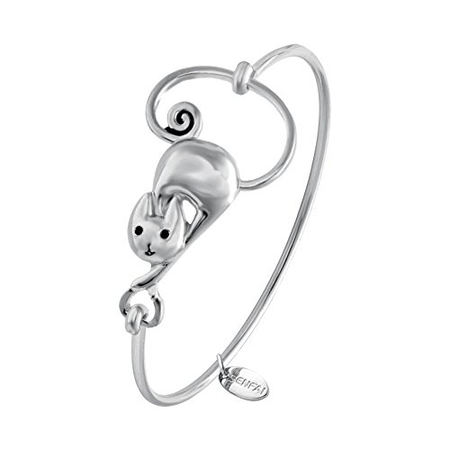 SENFAI Bracelets for Women Cute Girls Fashion Lovely Cat Bracelet Animal Jewelry Gift (silver)