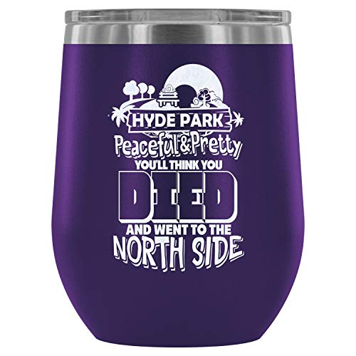 Steel Stemless Wine Glass Tumbler, Gift For Friend Wine Tumbler, Hyde Park Peaceful And Pretty Vacuum Insulated Wine Tumbler (Wine Tumbler 12Oz - Purple) ()