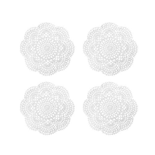 Phantomon 8 Inch Doilies Crochet Round Lace Doily White Handmade 100% Cotton Crocheted Coasters, Pack of 4