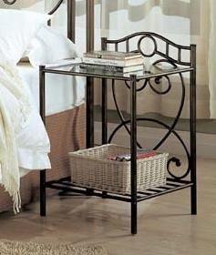 Coaster 300162 Iron Nightstand With Shelf In Green Metal Fin