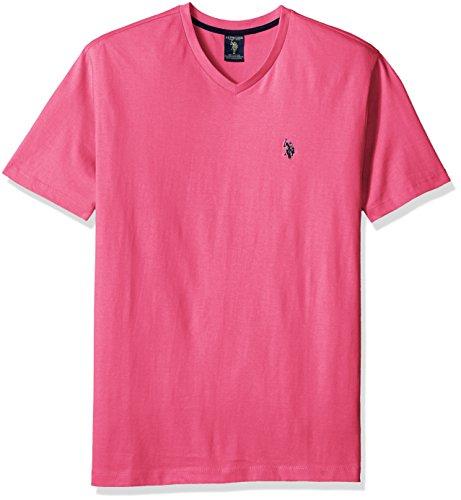 U.S. Polo Assn. Men's V-Neck T-Shirt, Scuba Pink, Large