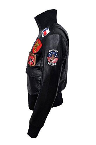 """Giacca di pelle Pilot Air Force Pilot Air Bomber Air Force """"TOP GUN BLACK"""""""