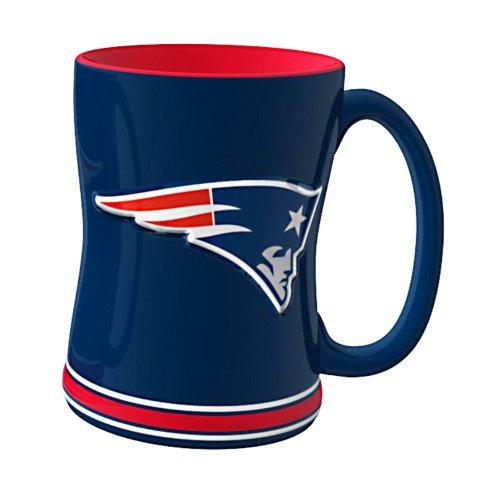 NFL New England Patriots Sculpted Relief Mug, 14-ounce, Navy - England Blue Cup