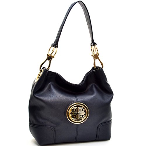 Accented Large Hobo - Dasein Soft Faux Leather Emblem Structured Tote Hobo Shoulder Bag Handbag Purse of work or shopping with Removable Gold Tone Accented Clip Handles - Black