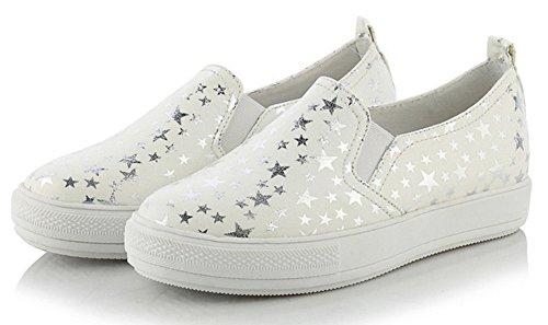 Easemax Femmes Casual Bout Rond Slip Sur Bas Coupe Étoiles Chaussures De Sport De Mode Élastique Blanc