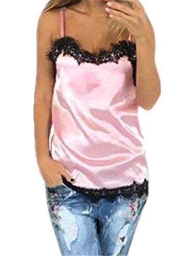 Moda Shirt Canotta Elegante Bretelle Top ZONVENL Donna Comoda Pizzo Allentato Canotta Casual Pink Camicia T Eleganti Bonitas Popolare xwW0qf10IO